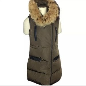 Marni Quilted Down Vest Brown  Raccoon Collar 4-6